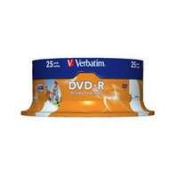 Verbatim 43538 DVD-R 4.7GB 25 Pack Spindle, Wide Inkjet Printable, 16x