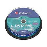 Verbatim 43552 DVD-RW 4.7GB 10Pk Spindle 4X