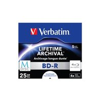 Verbatim 43823 M-Disc BDR 25GB, 5 Pack, Jewel Case, White Inkjet Printable, 4x