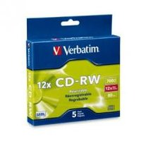 Verbatim DataLifePlus CD-RW 80 Min Slim Case 5 Pack 4-12x High Speed