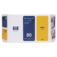 HP 80 YELLOW INK 350 ML C4848A, FOR DJ 1000
