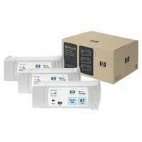 HP 81 3-PACK 680ML LIGHT CYAN C5070A FOR DJ 5500, 5500PS, 5000, 5000PS