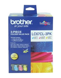 BROTHER LC67 CYM TRIPLE INK 3X 325 PAGE YIELD FOR 5890, 6490, 6690 & 6896