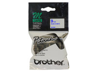 BROTHER P-TOUCH 9mm x 8m BLUE ON WHITE M TAPE