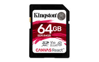 KINGSTON SDR/64GB, 64GB SDXC CANVAS REACT, CLASS 10 UHS-I, U3,V30, A1 FLASH CARD