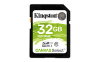 KINGSTON 32GB SDHC CANVAS SELECT, 80R CL10 UHS-I FLASH CARD