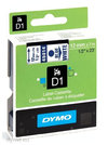 DYMO TAPE D1 12MM X 7M BLUE ON WHITE