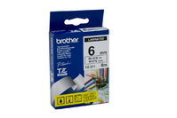 BROTHER P TOUCH 6MM X 8M BLACK ON WHITE TZE TAPE