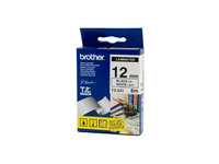 BROTHER P TOUCH 12MM X 8M BLACK ON WHITE TZE TAPE