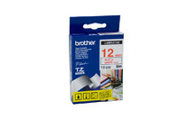 BROTHER P TOUCH 12MM X 8M RED ON WHITE TZE TAPE