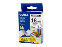 BROTHER P TOUCH 18MM X 8M BLACK ON WHITE TZE TAPE
