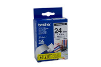BROTHER P-TOUCH 24MM X 8M BLACK ON WHITE TZE TAPE