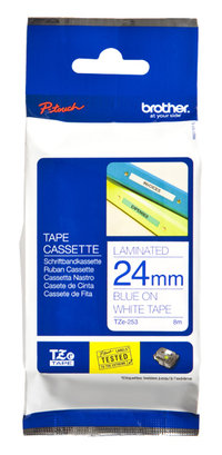 BROTHER P-TOUCH 24MM X 8M BLUE ON WHITE TZE TAPE